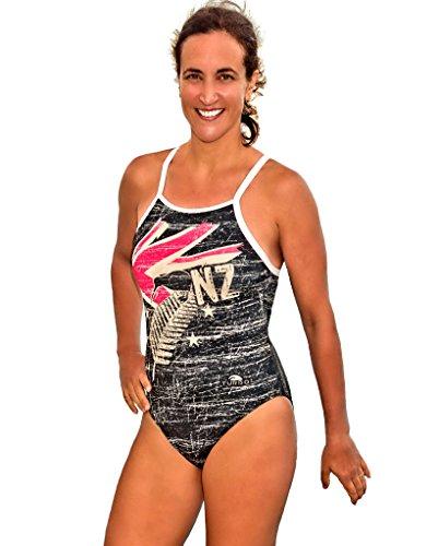 TURBO Schwimmanzug New Zealand (Relax-Modell) Damen Sportbadeanzug mit Unterbrustband (Gr. 40 = TURBO Gr. XL) (Speedo Flag)