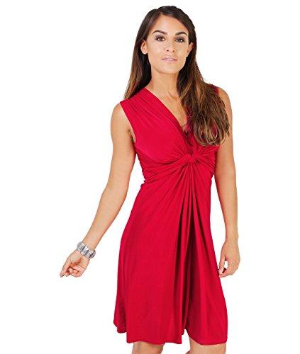 9354-RED-20: Kleid Geknotet Gerafft (Rot, Gr.48) (Rote Kleider In Plus-größe)