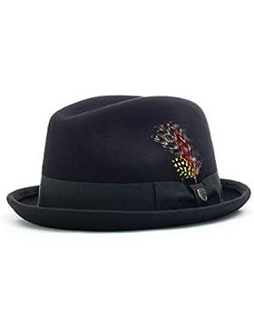 ECP Design Brixton Gain del hombre Fedora, Unisex, Hat Gain, Black - Black Felt