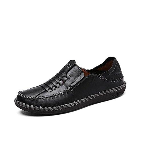 HUAN Hommes Casual Chaussures Hommes Marche Confortable Similicuir Printemps Été Automne Hiver Casual Bureau & Carrière Talon Plat Mens Casual Chaussures Black