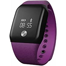A88+ Reloj inteligente Sannysis 4.0 Bluetooth monitor de pulso cardiaco monitor de sangre (Púrpura)