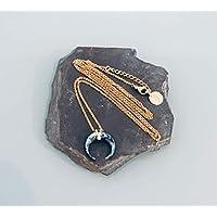 Collana di luna madreperlata, collana in oro, gioiello dorato, collana in oro, gioielli regali, idea regalo donna, gioiello luna, collana celeste