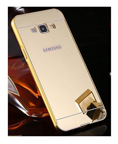 watch 29d1a f7510 Samsung Galaxy J5 (2015 Model) Luxury Metal Bumper Acrylic Mirror Back  Cover Case-Gold