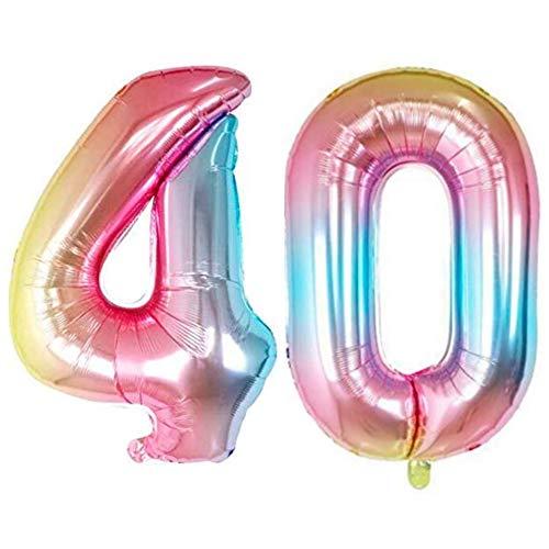 DIWULI, XXL Zahlen-Ballons, Zahl 40, Schillernde Regenbogen Luftballons, Zahlenluftballons, Folien-Luftballons Nummer Jahre, Folien-Ballons 40. Geburtstag, Hochzeit, Party, Dekoration, Geschenk-Deko