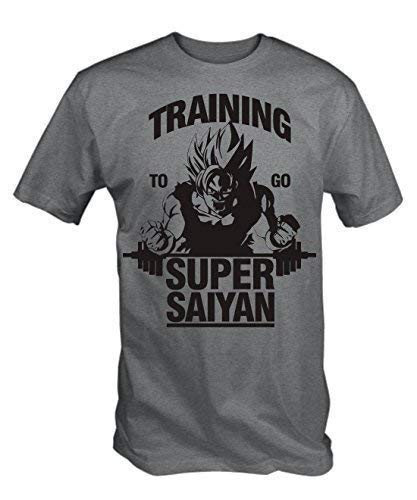 "T-shirt Gris Imprimé ""Training to go Super Saiyan&quot, L"