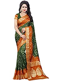 SK Clothing Womens Multi Color Art Silk Handicraft Bandhej Bandhani Saree With Blouse Piece (Buttapallu 09)