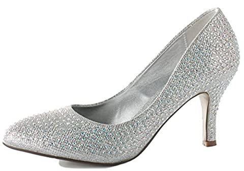 Ladies Work Pumps Low Mid Heels Stiletto Court Shoes Silver Diamante Size 6