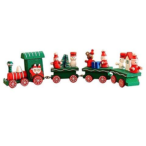 semen Holz Eisenbahn Weihnachtsdekoration Ornament Zug Deko Kinder Spielzeug Eisenbahn Weihnachtszug Geschenke Gift (Grün)