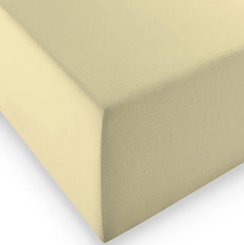 sleepling Komfort Jersey-Elastic Stretch Spannbettuch Spannbettlaken für Matratzen bis 30 cm Höhe (215 gr. / m²) mit 3{429bd01606378bf366e0585712ebb6ac967091b31b357dab11162973d1d912f1} Elastan 180 x 200-200 x 220 cm, beige