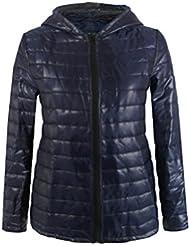 Sannysis chaquetas de mujer abrigo de invierno con capucha (Azul, XL)