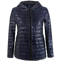 Sannysis chaquetas de mujer abrigo de invierno con capucha (Azul, L)