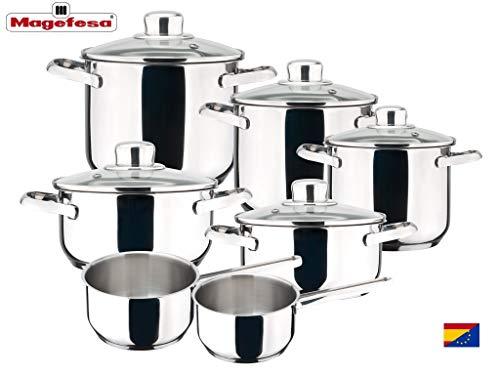 MAGEFESA Dux - Batería de Cocina MAGEFESA Dux 12 Piezas está Fabricada en Acero Inoxidable 18/10...