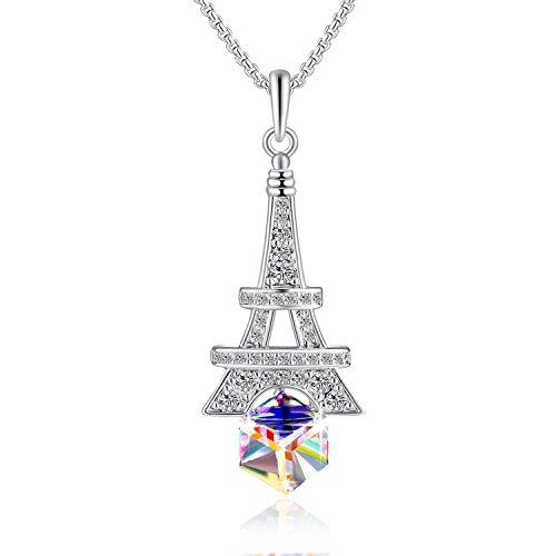 Collana con pendenti - torre eiffel di parigi - cristalli swarovski® e zircone cubico - moda gioielleria regalo per donna ragazze