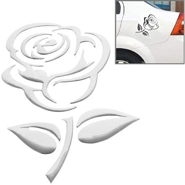 Aufkleber Sticker Silber Chrom 3d Emblem Rose Blume Elektronik