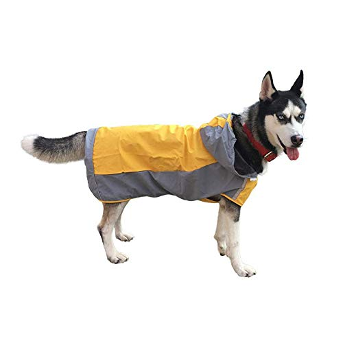 skrskr Pet Raincoat Waterproof and Cold Breathable Sunscreen Jacket Hoodie 2-Layer Design with Safety Reflective Strip Raincoats Poncho for Medium to Large Dogs