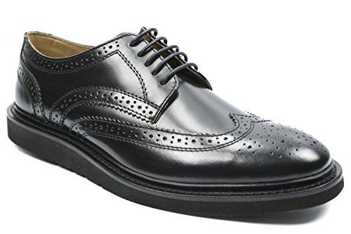Base London Schuh Herren Schnürsenkel Perforiert Leather Black Black BIfnqy