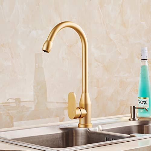 FZHLR Gold Küchenarmatur Raum-Aluminium Einhand-Heiße Kalte Wasser-Behälter-Wannen-Bassin-Hahn-Mischer Torneira Cozinha 360 Drehender (Aluminium-wasser-behälter)