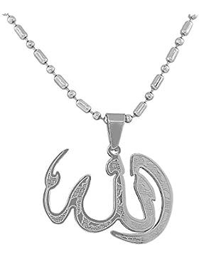 Edelstahl-Silber-Ton Muslim Islam Allah Anhänger Halskette God