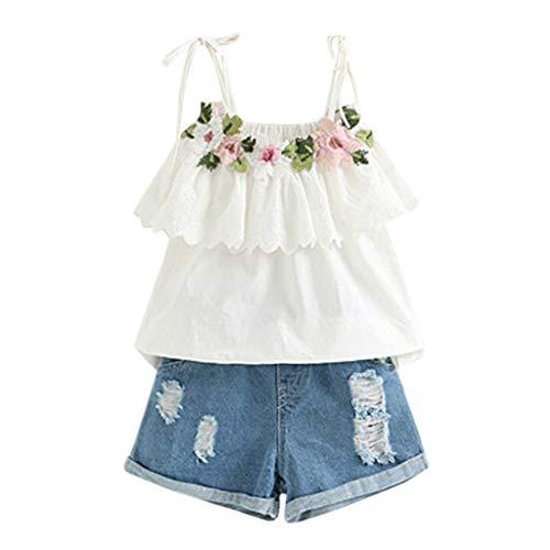 Alwayswin Kleinkind Kinder Outfits Baby Mädchen Kleidung Stickerei T-Shirt Denim Shorts Jeans Set Sommer Baby Kleidung Freizeit Strand Kleidung Mode Elegant Kleidung Set 2-7 Jahre alt