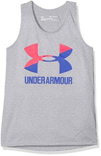 Under Armour Mädchen UA Big Logo Slash Tank Steel Light Heather, YSM (Kinder Und Slash)