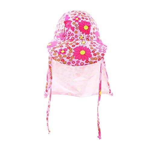 Baoblaze Kinder Sonnenschutz Badekappe Kinder Strand Kappe mit Nackenschutz Kleinkind Sommer Visier Cap UV-Schutz UPF50 - Pinke Blume