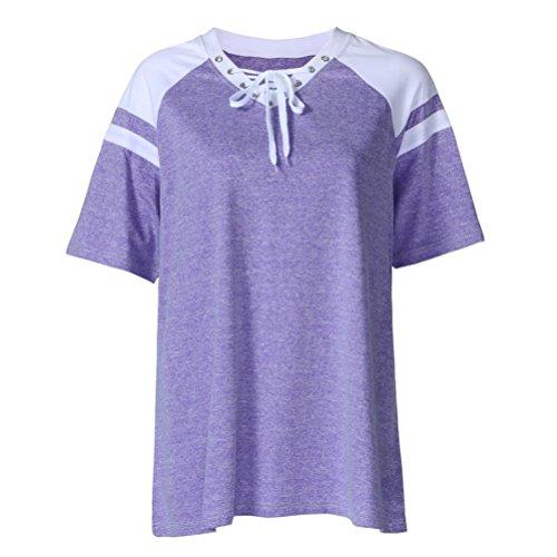 Blusen & Tuniken für Damen,Traumzimmer Tops Mode Übergröße Damen Kurz Ärmel Spitze Oben Raglan Ärmel Oberteile Bluse T-Shirt (Lila, XL) (Kurze Raglan-Ärmel)