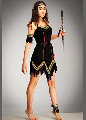 Magic Box Adult Ladies Tiger Lily Black Native Indian Costume (Small (UK 8-10))