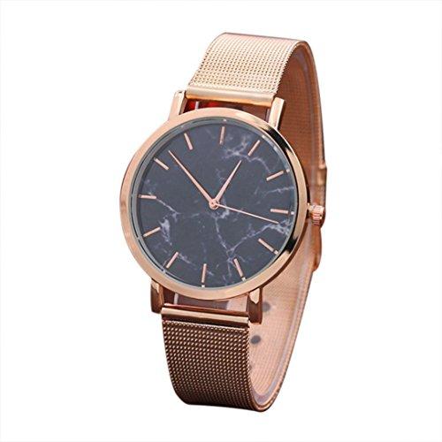 Damen Uhren,Beikoard Mode Frauen Marmor Oberfläche Edelstahl Band Quarz Uhrwerk Armbanduhren (Rose Gold)