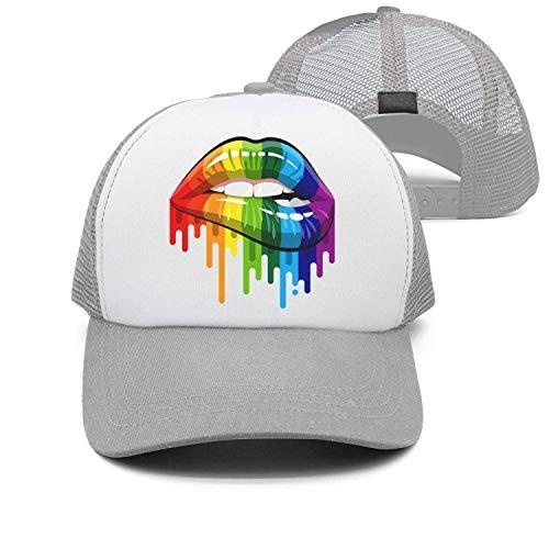 dfegyfr Unisex-Hut + Baseballmütze + Papa-Hut + Baseball-Mütze - Homosexuell Homosexuell Lesben Regenbogen Lippen Stolz Design11