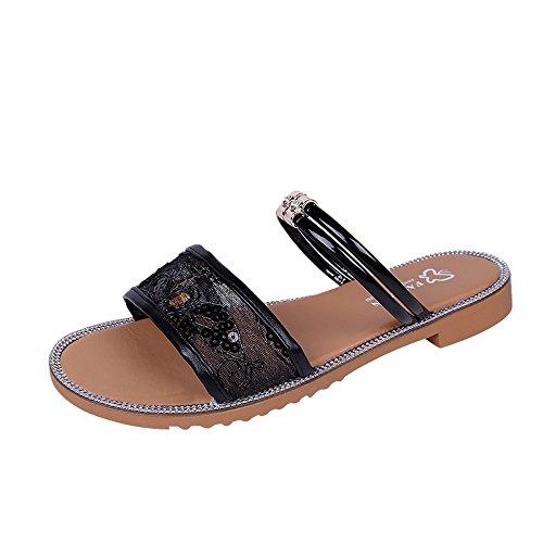 Sandales Femmes Plates Pas Cher,LANSKIRT Chaussures De Plage Antidérapantes Haussures d'Été Grecques pour Femme Plates en Cuir Bohèmes Chics Faites à La Ma