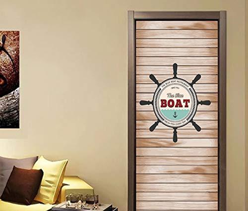 Kyzaa Schiff Drehscheibe Tür Aufkleber Wohnzimmer Schlafzimmer Einfache Selbstklebende Tapete Diy Vinyl Poster Home Decoration