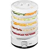 Deshidratador Alimentos 500W Aicook, Deshidratadora de Frutas 5 Bandejas Altura Regulable, Superficie Opaca Previene La Luz Nociva, 40-70ºC para Carne, Fruta, Verdura, sin BPA, Apto Para Lavavajillas