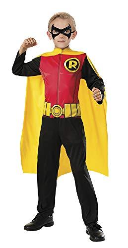 DC Comics - Disfraz de Robin superhéroe para niños, infantil talla 3-4 años (Rubie's 620180-S)