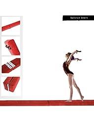 Seababyhouse 2,1 m 7ft Ginnastica pieghevole equilibrio trave duro indossando finto in pelle casa palestra allenamento bambini bambino Dancing regalo v (rojo)
