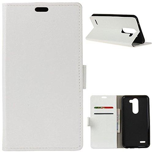 KM-WEN® Schutzhülle für LG X Mach K600 (5,5 Zoll) Bookstyle Crazy Horse Muster Magnetverschluss PU Leder Wallet Case Flip Cover Hülle Tasche Schutzhülle mit Standfunktion Kartenfächer für LG X Mach K600 (5,5 Zoll) Weiß