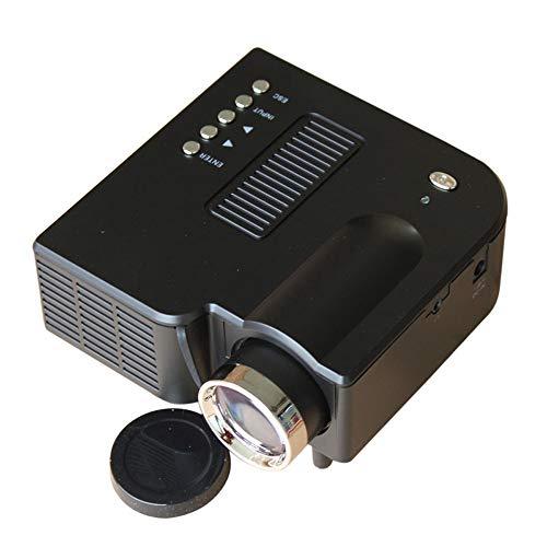 Mhwlai Tragbarer Projektor, UC28 + HD Heimprojektor Mini-Mikro-3D-Projektor Apple-Computer U-Disk-TV (weiß),Black