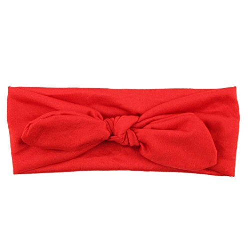 Omiky® Frauen Yoga Elastischer Bogen Haarband Turban Geknotete Kaninchen Haarband Stirnband (Rot)