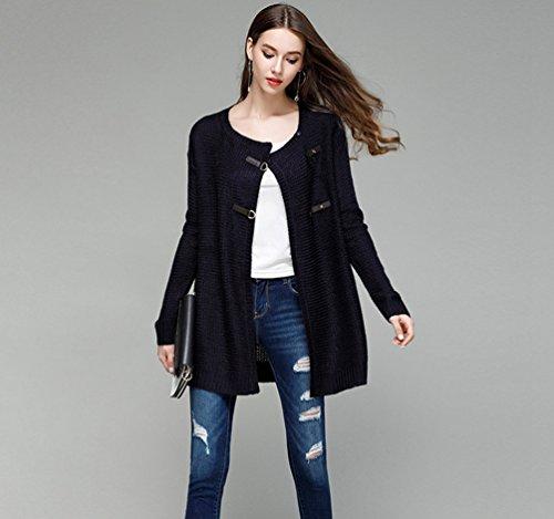 NiSeng Donna Maglia Cardigan Colore Solido Cardigan Lavorato A Maglia Eleganti Manica Lunga Cardigan Sweatercoat Marina