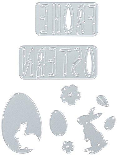 zschablonen-Frohe Ostern, Stahl, Mehrfarbig, 26 x 13 x 0.2 cm (Ostern Elemente)