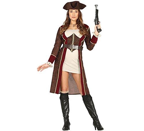 Costume vestito abito travestimento carnevale adulto donna piratessa lusso, capitana pirata, bucaniera, corsara - taglia m (38-40)