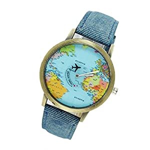Moda mujeres hombres vintage Reloj mapamundi azul Denim