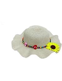Leisial Gran Sombrero Redondo de ala Ancha Sol Sombrero de Playa para Niñas  Sombrero de Flores c5a84f29d13