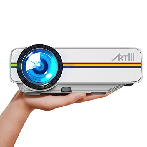 Proyector Led,ARTLII Mini Videoproyectores 1200 lúmenes Portátil Proyector Full HD 1080p Casa Cine (Blanco)