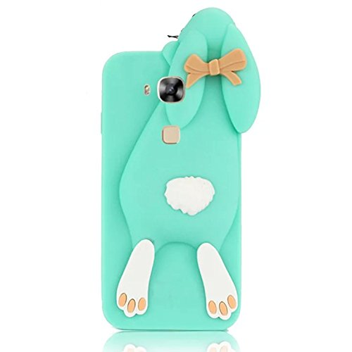 Sunroyal 3D Fashion Case Cute Funny Süße Silikon Schutzhülle Buck Teeth Bunny Rabbit Soft Weichem Handy Tasche für Huawei Ascend G7 Plus ( G8) / GX8 / Huawei Ascend G8 Karikatur Cartoon Zubehör Set Handyhülle Etui Skin Shell Zurück Rückseite, Grün Green