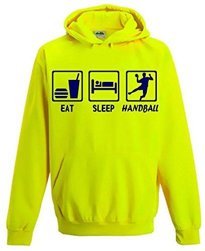 EAT SLEEP HANDBALL ! Kinder NEON SWEATSHIRT gelb Kinder 7/8 Jahre
