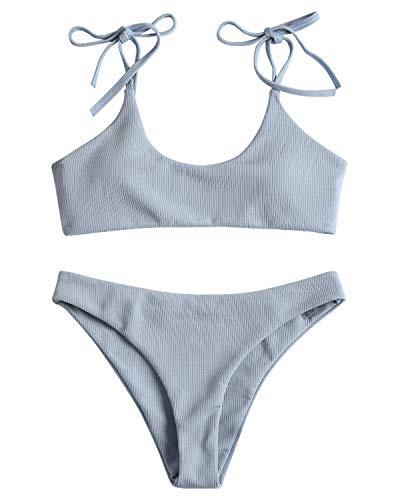 ZAFUL Bralette Bikini-Set mit Spaghetti-Träger Bikinis Bademode Badeanzug Swimwear Swimsuit Bikinis Set Small Blau (Chinlon Damen Badeanzug Polyester,)