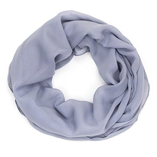 ManuMar Loop-Schal für Damen | feines Hals-Tuch mit Unifarben | Schlauch-Schal in Grau - Das ideale Geschenk für Frauen