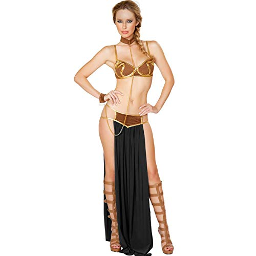 Fancyland Women's Kostüm Princess Leia as a Slave Dessous Reizwaesche Lingerie-BH-Rock-Halsband String Set