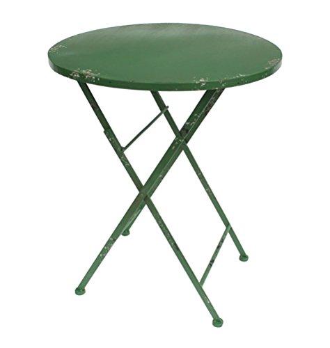 milanari Klapptisch Vintage runder Eisentisch Gentile grün in Shabby Chic Style Ø 62 cm, Höhe 71 cm