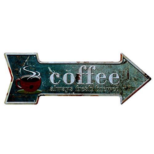 Lumanuby 1x Kaffee Werbung von Pfeil Metallschild Schäbige Wand Deko von Kaffee Tasse mit Wort' Coffee Always Fresh and Brewed' Wandposter für Café Restaurant Pub Bar, Bar Sprüche Serie 45x16cm -